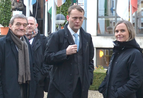 The NDLA delagation from Hordaland in Maastricht 2011. From the left director of education, Svein-Erik Fjeld, NDLA director, Øivind Høines, and deputee county mayor, Mona Hellesnes.